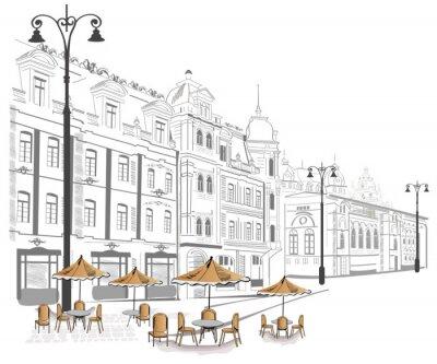 Series of street cafe w szkicach