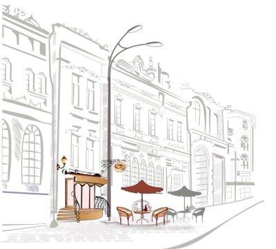 Fototapeta Series of street cafe w szkicach