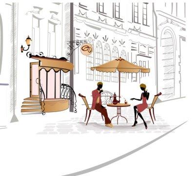 Fototapeta Series of street cafe w szkicach z ludźmi