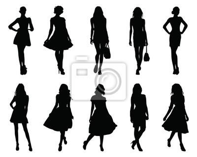 Fototapeta Set beautiful fashion girl silhouette on a white background