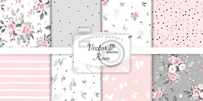Fototapeta set botanic and abstract seamless pattern with flowers and leaves, hand drawn background. collection floral pattern. Tile with Flower rose.