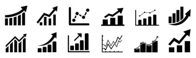 Fototapeta Set graph diagram up icon, business growth success chart with arrow, business bar sign, profit growing symbol, progress bar symbol, growing graph icons, growths chart collection – vector