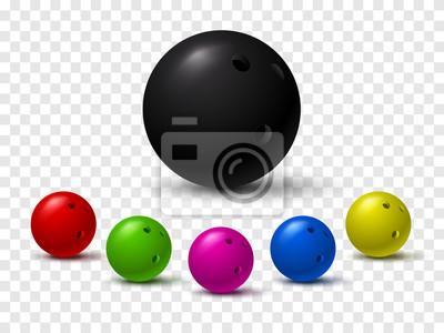 Fototapeta Set kolorowe wrzeszczące piłki odizolowywać na przejrzystym tle.