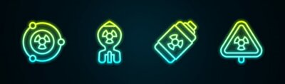 Fototapeta Set line Radioactive, Nuclear bomb, energy battery and Triangle with radiation. Glowing neon icon. Vector
