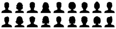 Fototapeta Set man and woman head icon silhouette. Male and female avatar profile sign, face silhouette logo – stock vector