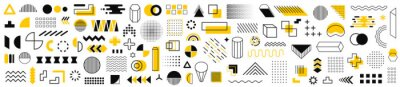 Fototapeta Set of 115 geometric shapes icons. Memphis design retro elements. Collection trendy halftone geometric shapes. Retro funky graphic, 90s trends designs and vintage print element collection