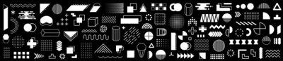 Fototapeta Set of 115 geometric shapes icons. Memphis design retro elements. Collection trendy halftone geometric shapes. Retro funky graphic, 90s trends designs and vintage print element collection - vector