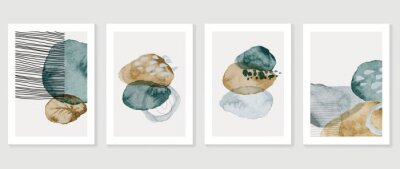 Fototapeta Set of abstract art background vector. Watercolor hand painted illustration for wall art, Wall decoration, poster, canvas prints, postcard and cover design.