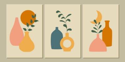 Fototapeta Set of abstract botanical posters. Modern background. Vector illustration.