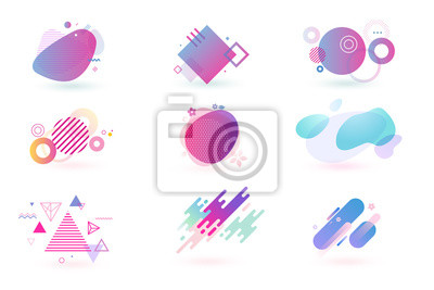 Fototapeta Set of abstract graphic design elements. Vector illustrations for logo design, website development, flyer and presentation, background, cover design, isolated on white.