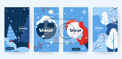 Fototapeta Set of abstract winter backgrounds for social media stories. Colorful winter banners with falling snowflakes, snowy trees. Wintry scenes . Use for event invitation, discount voucher, ad. Vector eps 10