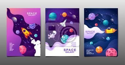 Fototapeta set of banner templates. universe. space. space galaxy, design. vector illustration