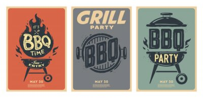 Fototapeta Set of barbecue posters. BBQ time. Barbecue party. Vintage poster.