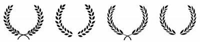 Fototapeta Set of black circular foliate laurels branches.Laurel wreath.Silhouette laurel wreath. Heraldic trophy crest, Greek and Roman olive branch award, winner round emblem. Vector black laurels set