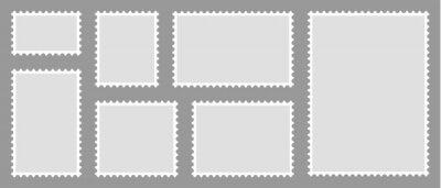 Fototapeta Set of blank postage stamps. Blank letter stamps, postal frame. Vector illustration.