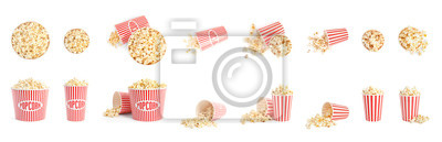 Fototapeta Set of buckets with tasty pop corn on white background. Banner design