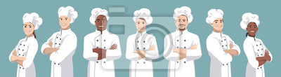 Fototapeta Set of chefs. European and African American smiling men and women stand half turned and facing camera, have crossed arms and wearing chef uniform and hat. Vector illustration