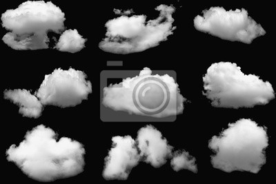 Fototapeta Set of clouds white fluffy for design on a isolated elements black background.