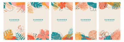 Fototapeta Set of colorful abstract summer backgrounds with tropical palm leaf for social media,banner,cover,poster,stories,card,post.Trendy vector template for your design with copy space for text. Summertime