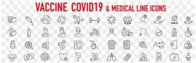 Fototapeta Set of Coronavirus and Vaccine line icons, covid19, Medical mask, health, contagious, epidemic, outbreak, Vector