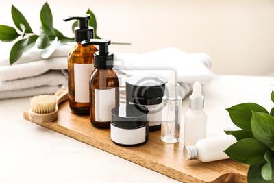 Fototapeta Set of cosmetics for personal hygiene on table
