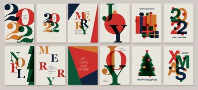 Fototapeta Set of creative colorful cards, flyers, posters for 2022 New Year. Numbers design. Christmas greetings.