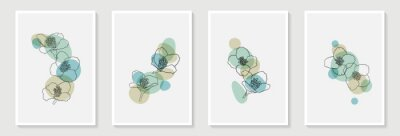 Set of creative minimalist hand draw illustrations floral outline and pastel simple shape for wall decoration, postcard or brochure cover design