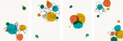 Set of creative minimalist hand draw illustrations floral outline lily bright circle simple shape vintage color. design for wall decoration, postcard or brochure cover design