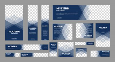 Fototapeta set of creative web banners of standard size with a place for photos. Vertical, horizontal and square template. vector illustration