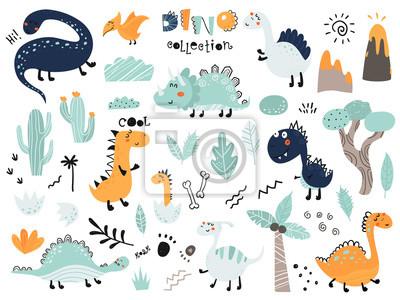 Fototapeta Set of cute dinosauts, foliage, volcano, cactus