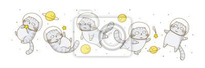Fototapeta Set of cute scottish fold cats astronauts isolated on white background