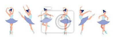 Fototapeta Set of dancing ballerinas in flat style isolated on white background. Cartoon ballerina character with different dance poses and emotions. Vector illustration
