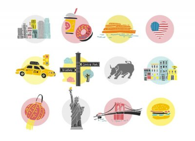 Fototapeta Set of decorative symbols of New York. Templates and icons for the travel site in America, travel guides, postcards, maps. Sights and main elements of a big city. Cute cartoon vector illustration.