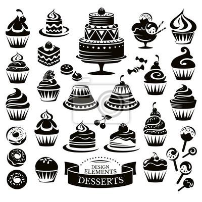 Fototapeta Set of desserts design elements