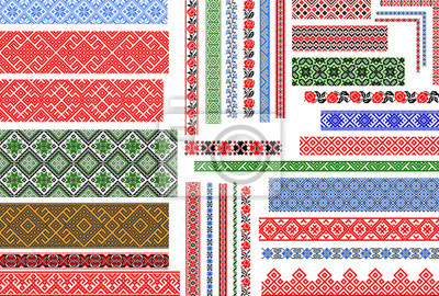 Fototapeta Set of editable Ukrainian traditional seamless ethnic patterns for embroidery stitch. Vintage floral and geometric ornaments.