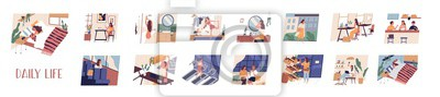 Fototapeta Set of everyday leisure and work activities performing by young woman. Bundle of daily life scenes. Girl sleeping, eating, working, doing sports, grocery shopping. Flat cartoon vector illustration.