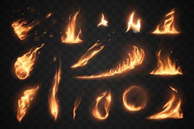 Fototapeta Set of fire flames elements on transparent background