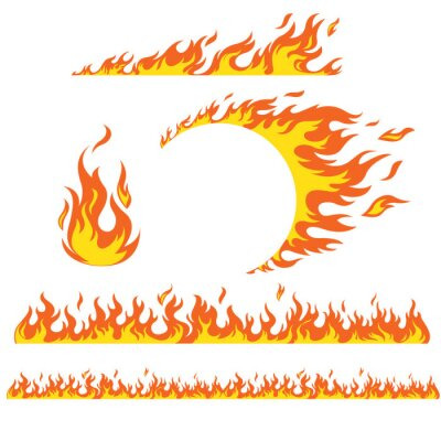 Fototapeta Set of flame elements on a white background, fire. Horizontal pattern of fire, fire around the wheel.