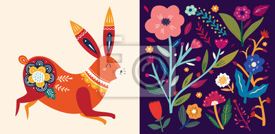 Fototapeta Set of floral spring cards. Card with cute bunny