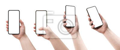 Fototapeta Set of four smartphones, blank screen and isolated on white background