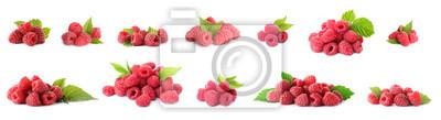 Fototapeta Set of fresh sweet raspberries on white background. Banner design