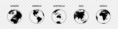 Fototapeta Set of Globe Illustration Vector of 5 Continents : Europe America Australia Asia Africa. World map vector illustration black silhouette bundle