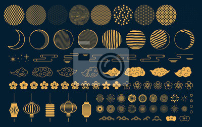 Fototapeta Set of gold decorative elements in oriental style with moon, stars, clouds, pattern circles, lanterns, fireworks, flowers, for Chinese New Year, Mid Autumn. Isolated objects. Vector illustration.