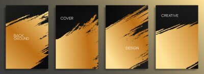 Fototapeta Set of golden cover design template. Abstract gold brush strokes background for card, brochure, banner, posters, flyer, and wallpaper.