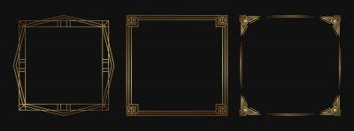 Fototapeta Set of golden decorative frames. Isolated Art Deco line art borders with empty space.