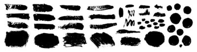 set of grunge black paint, ink brush strokes. brush collection isolated on white background. Trendy brush stroke for black ink paint,grunge backdrop, dirt banner,watercolor design and dirty texture.