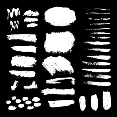 set of grunge black paint, ink brush strokes. brush strokes collection. Dirty grunge artistic design elements, backgrounds, textures, brushes.