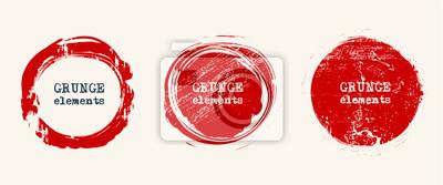 Fototapeta Set of grunge vector round and circle. Grunge background.