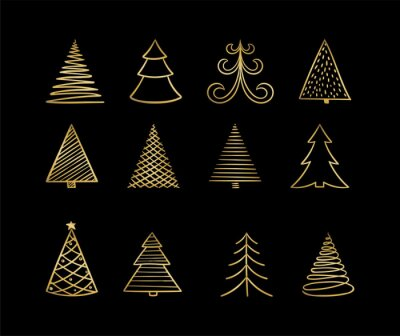 Set of hand drawn Sketch Golden Christmas tree. design for holiday greeting cards and invitations of the Merry Christmas and Happy New Year, banners, posters, logo for seasonal holidays