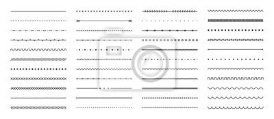 Fototapeta Set of hand drawn vector line border. Lines, borders, underline pencil strokes, drawing dividers. Doodle design. Geometric vintage fashion collection.